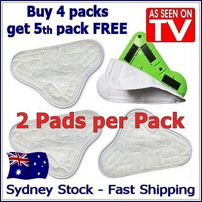 2X - After-market H20 H2O StickOn White Steam Cleaning Mop X5 Pads Microfiber