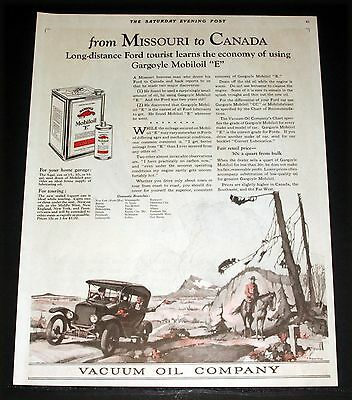 "1924 Old Magazine Print Ad, Vacuum Mobiloil, Missouri To Canada, Model ""t"" Art!"