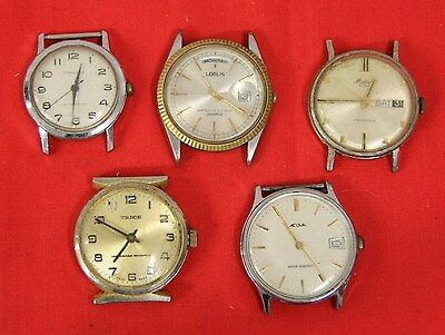MIXED LOT OF 5 VINTAGE WRIST WATCHES - 2 FIX