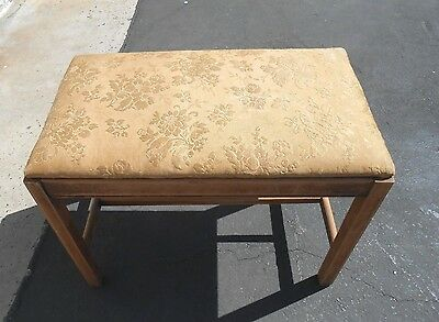 Antique  Wooden Vanity Bench With Padded Floral Cloth Seat