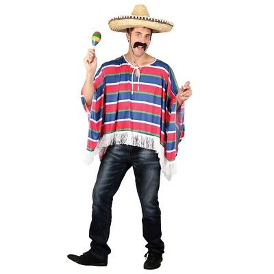Adult MEXICAN PONCHO Bandit Mexico Stag Party Fancy Dress Costume Male Mens