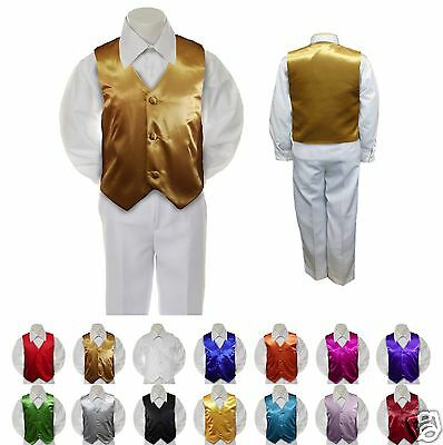New Gold Satin Vest Only for Boy Baby Toddler Kid Teen Formal Wedding Party S-20