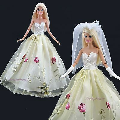 Princess Tulip Wedding Dress Gown With Veil & Glove Clothes For Barbie Doll Gift