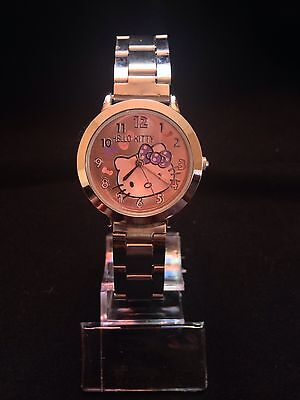 NEW HELLO KITTY WATCH WOMAN GIRL STAINLESS STEEL BIG FACE US SELLER