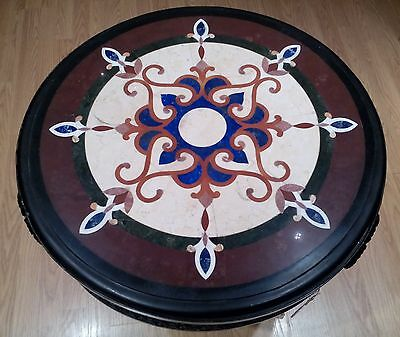 Hand Made Pietra Dura Multi-Color Marble Precious Stone Inlay Table & Iron Stand