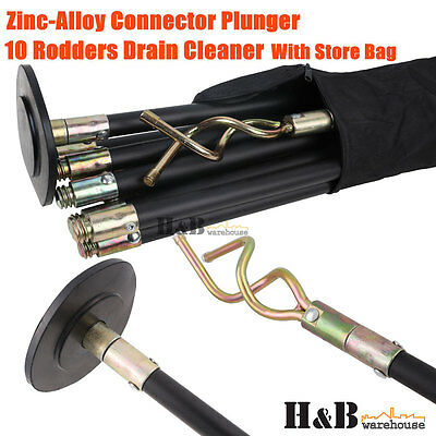Drain Cleaner Cleaners 10 Rod Zinc Alloy Plunger Connector Carry Bag T0073