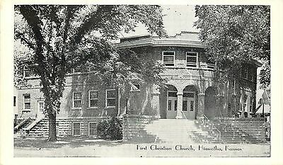 Hiawatha Kansas~Rounded Corner Arch Doorway~First Christian Church~1940 Postcard