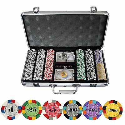 New 300 Ct Multicolor Edgespots Clay Poker Chip Set with Aluminum Case