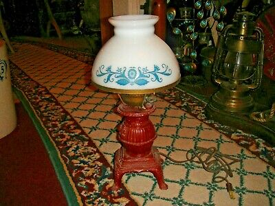 Vintage Pot Belly Stove Cast Metal Lamp W/Unusual Country Folk Art Glass Shade