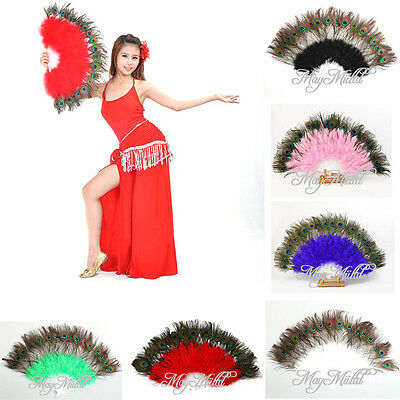 6 Color Beauty Large Belly Dance Costume Peacock Feather Folding Hand Fan CA