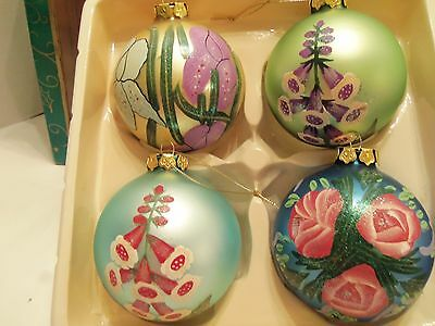 VINTAGE HAND-PAINTED GLASS CHRISTMAS ORNAMENTS SET OF 4