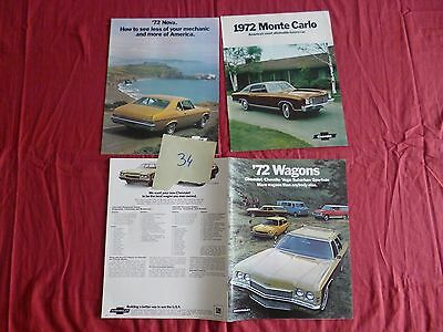 34  /   CHEVROLET :   3 catalogues  1972 monte-carlo,nova,wagons