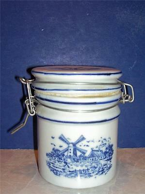 "Blue & White Windmill Teleflora Canister Jar Tight Seal Rubber Set 5"" Blue"