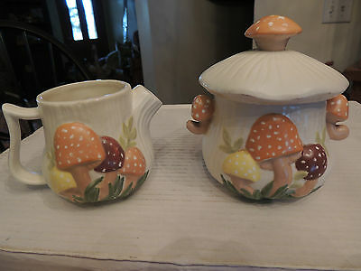 Vintage 70s Arnel  MUSHROOM Cream & Sugar Ceramic Retro Kitchen
