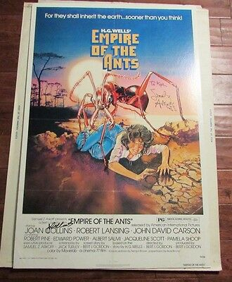 1977 Empire of the Ants 1-SH 27x40 Poster VG+ SIGNED Samuel Arkoff Joan Collins