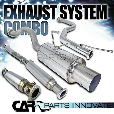 """Fit 92-00 Civic DX LX EX 2/4Dr Test Pipe+4"""" Tip Catback Exhaust Muffler+Silencer"""