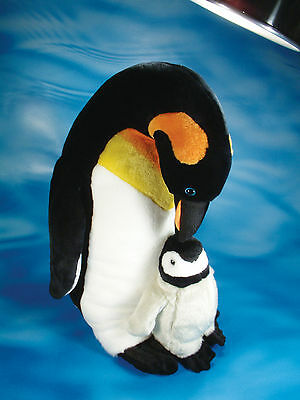 Large Luxury Emperor Penguin And Chick Soft Cuddly Toy Plush Stuffed Wild Animal