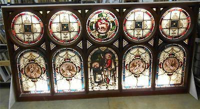 "Stunning Old English Leaded Stained Glass Church Window 1850's 107.75"" X 56.5"""