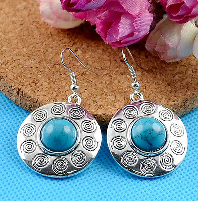 Noble Classical hot cute Turquoise tibet silver hook earrings H-440