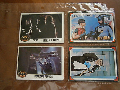 1966 & 1989 BATMAN TRADING CARD LOT OF 4 (VG-GOOD) THEN & NOW...