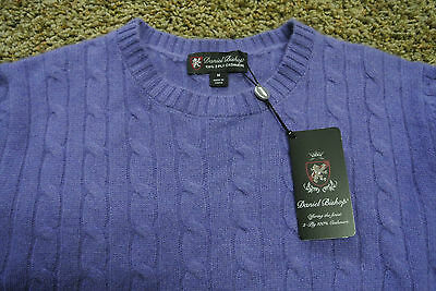 DANIEL BISHOP 100% 2-Ply Cashmere Cable Knit Crew Sweater M NWT$265 Lt. Purple!