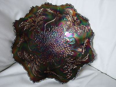 """Vintage Carnival Glass Stag & Holly 11"""" bowl in blue-Super color"""