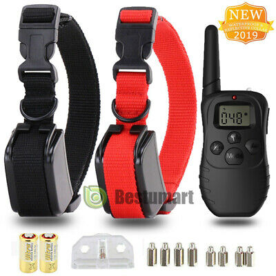LCD Waterproof 1000 Yard Shock Vibra 2 Dog Training Remote Control Collar Pet US