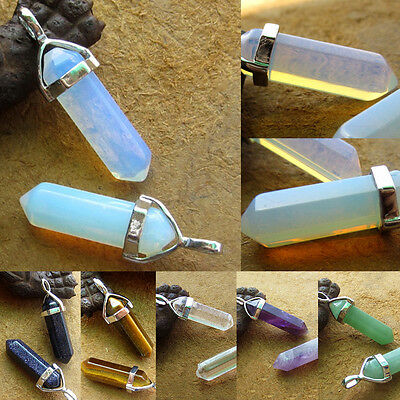 Gemstone Rock Natural Crystal Quartz Beads Healing Point Chakra Pendant Necklace
