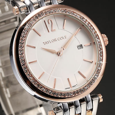 Taylor Cole Fashion Crystal Date Stainless Steel Quartz Lady Women Wrist Watch