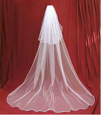 2 Layers White Ivory Cathedral Length Wedding Bridal Veil With Comb