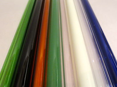 "GLASS BLOWING LAMPWORK BORO PYREX MULTI COLOR TUBING 12MM X 2MM  (8) 10"" TUBES"