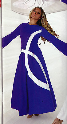 NWT PRAISE DRESS LITURGICAL DANCE Fish Detail Full  skirt Plum Purple 71147
