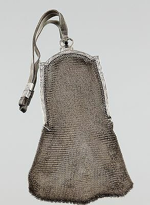 Antique Germany Sterling Silver Mesh Flapper Purse with Blue Cabochon