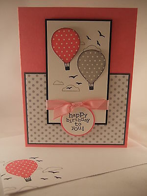 "Stampin Up ""Up, Up and Away"" Handmade Happy Birthday Card"