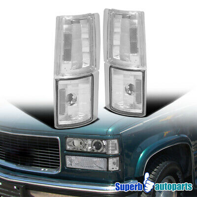 1994-1998 GMC C10 Sierra Suburban Chrome Corner Lights 4PC w/ Clear Reflector