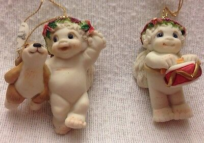 DREAMSICLE Christmas Ornament Set Of 2 Cherub W/Bunny + Cherub W/Drum