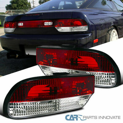 FIT 89-94 NISSAN 240SX S13 Hatchback Red Clear Tail Lights Rear Brake Lamps  Pair