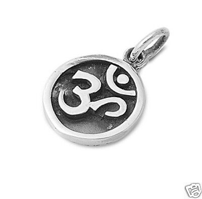 Om Sign Pendant Sterling Silver 925 Hindu Aum Yoga Jewelry Gift 16mm