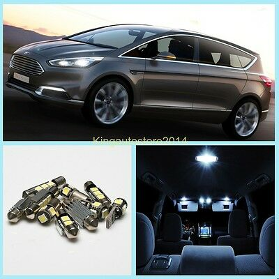 12x Xenon White Canbus LED Bulbs Interior Light Package Kit For Ford S-Max S Max