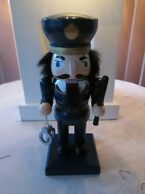 Decorative Policeman Nutcracker with Handcuffs and Club, New