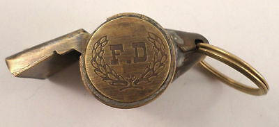 F.D. FD Fire Department Whistle Solid Brass Key Ring Chain Fob #A40