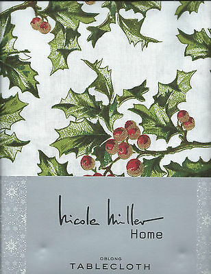 Nicole Miller Holly Berry Christmas Holiday Tablecloth - 60X108, 60X120