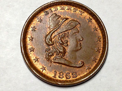 1863 Indian Princess 12 Border Stars-Our Army R-2 Civil War Token 50/335