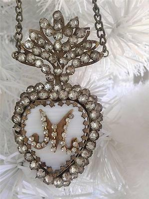 French Architectural Vintage Gold Heart Locket  Necklace Faux Jewel Crystals New