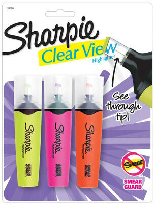 Sharpie Clear View Highlighters 3 Fluorescent Colors See Through Blade Style Tip