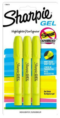 Sharpie Gel Stick Yellow Highlighters Won't Bleed or Smear Ink Free Technology