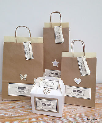Personalised Paper Vintage Style Wedding Gift Bags Party Favour Tissue Brown