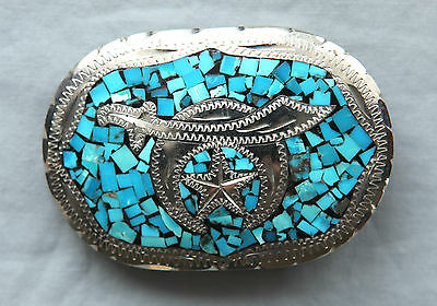Vintage Hand Made Turquoise Inlay Shriners Western Belt Buckle