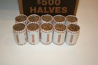 10 Bank Wrapped Rolls  Kennedy Half Dollars Unsearched $100 FV + free 40% Silver