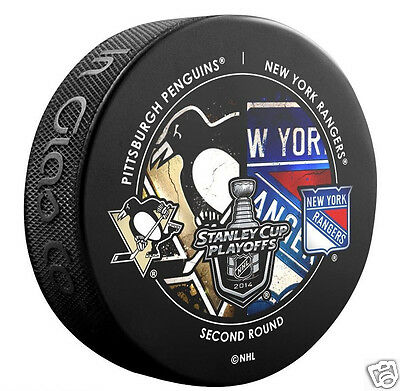 PITTSBURGH PENGUINS vs NEW YORK RANGERS 2014 Playoffs Round 2 DUELING LOGO PUCK